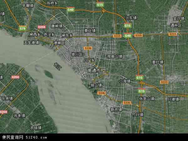 中国江苏省南通市地图(卫星地图)