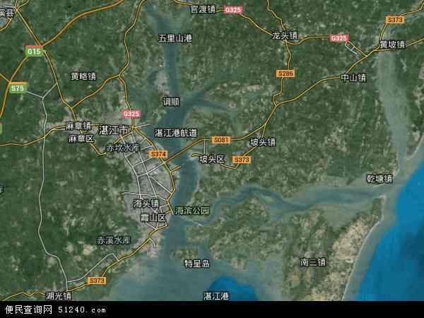 中国广东省湛江市坡头区地图(卫星地图)