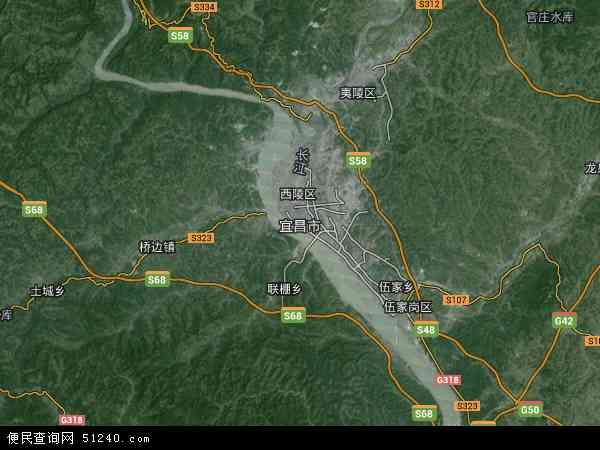 中国湖北省宜昌市地图(卫星地图)