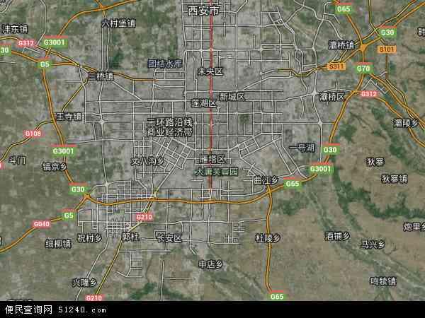 中国陕西省西安市雁塔区地图(卫星地图)