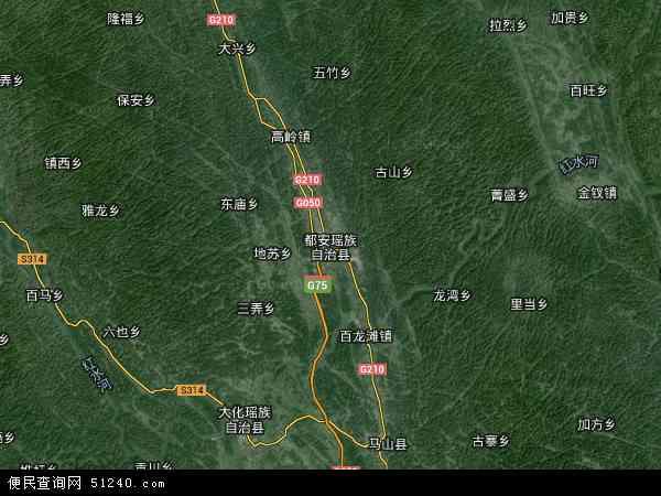 中国广西壮族自治区河池市都安瑶族自治县地苏镇地图(卫星地图)