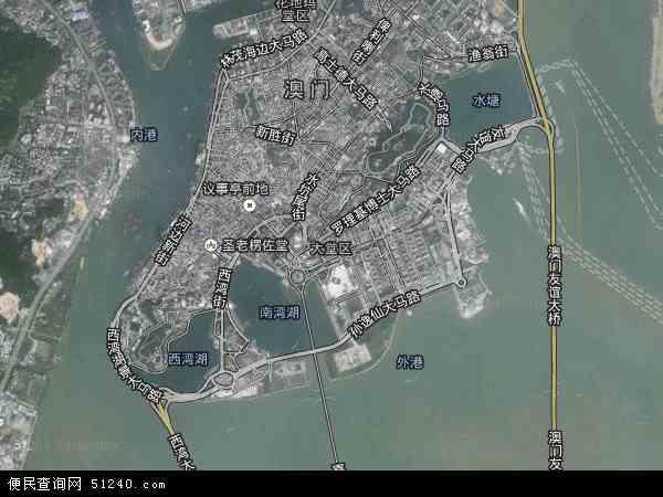 中国澳门大堂区地图(卫星地图)