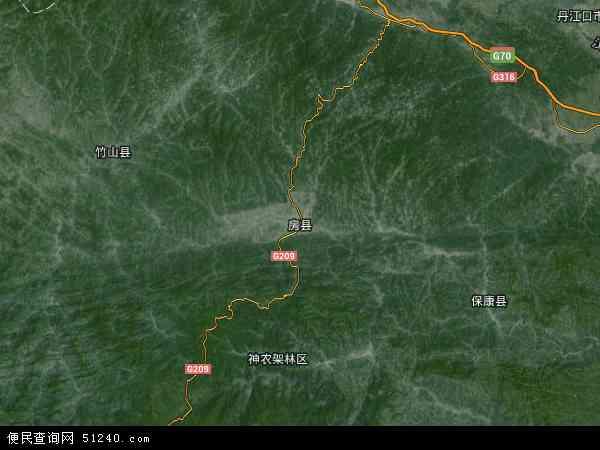 房县地图 - 房县卫星地图图片