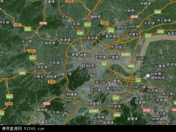 中国浙江省杭州市地图 卫星地图 -杭州市地图 杭州市卫星地图 杭州市