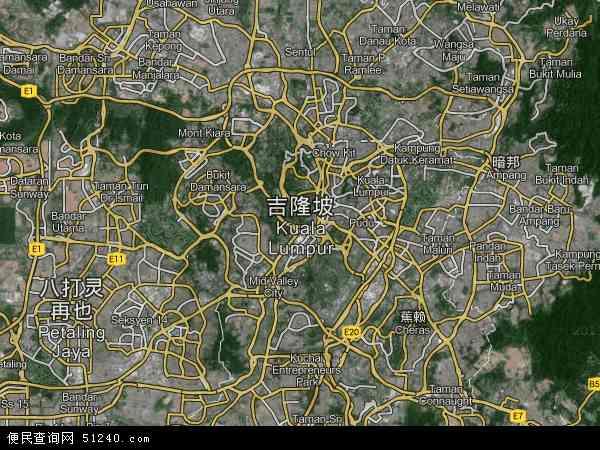 吉隆坡地图 - 吉隆坡卫星地图