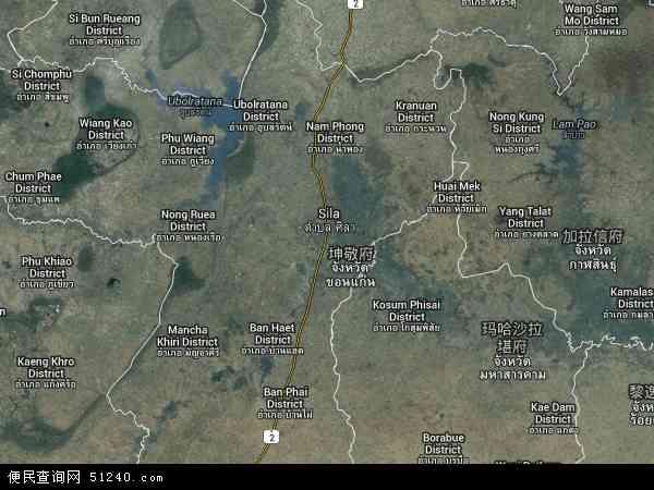泰国孔敬地图(卫星地图)