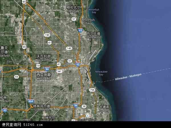 美国高清卫星地图_密尔沃基地图 - 密尔沃基卫星地图 - 密尔沃基高清航拍地图