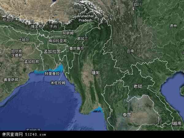 缅甸地图(卫星地图)