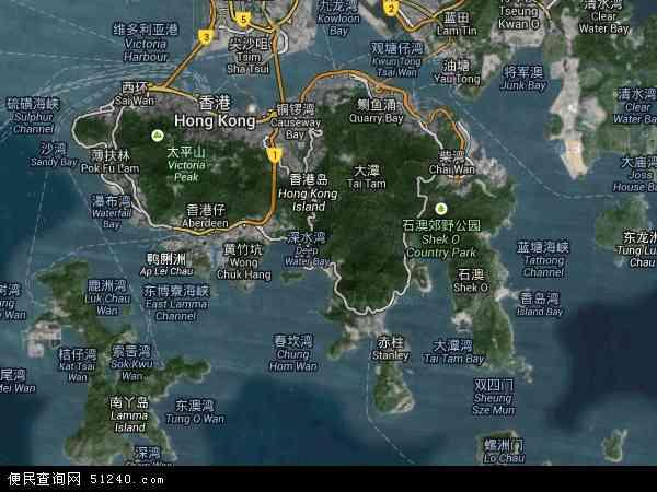 中国香港南区地图(卫星地图)