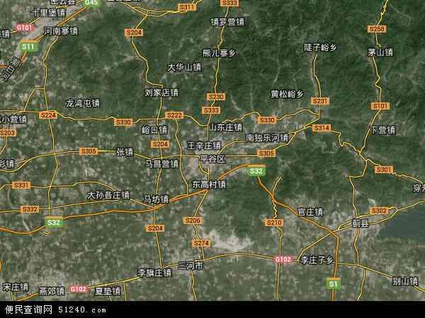 中国北京市平谷区地图(卫星地图)