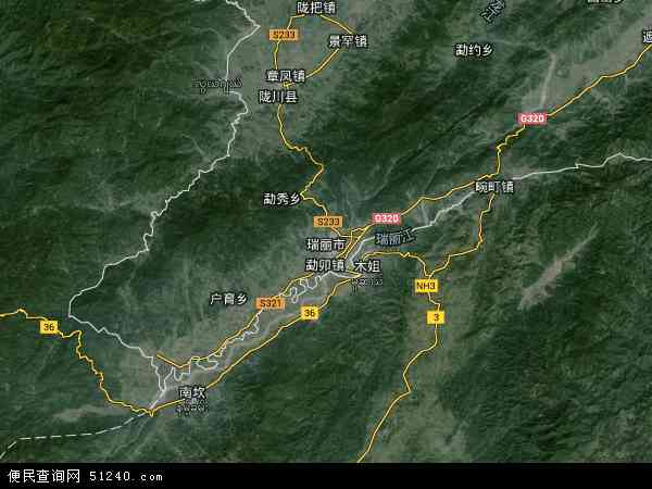 瑞丽市高清卫星地图 瑞丽市2017年卫星地图 中国云南省德宏傣族景图片
