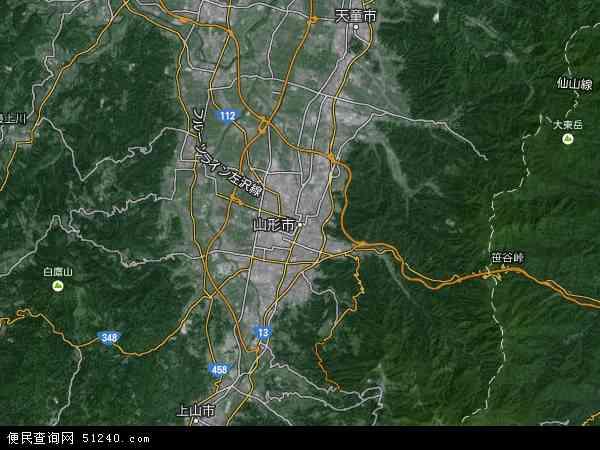 日本山形地图(卫星地图)图片