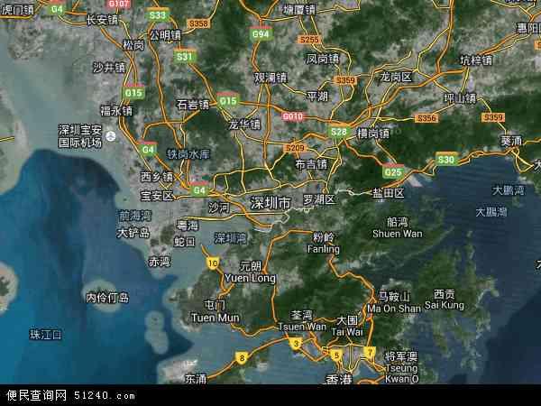 中国广东省深圳市地图(卫星地图)图片