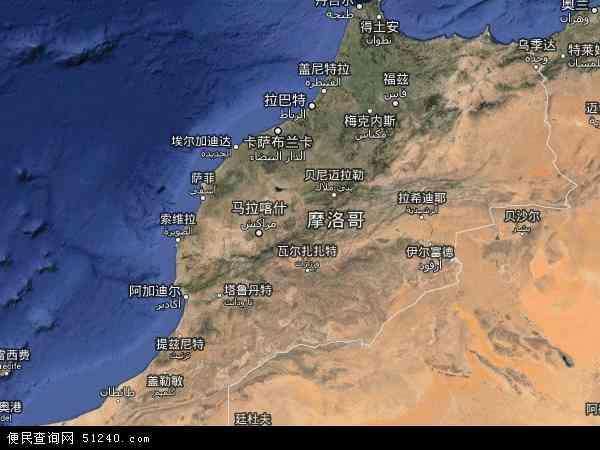 摩洛哥西撒哈拉地图(卫星地图)