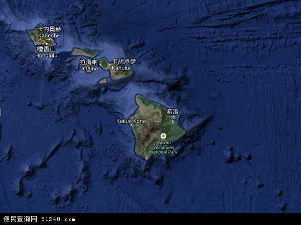 夏威夷地图 - 夏威夷卫星地图