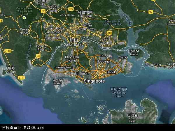新加坡地图(卫星地图)