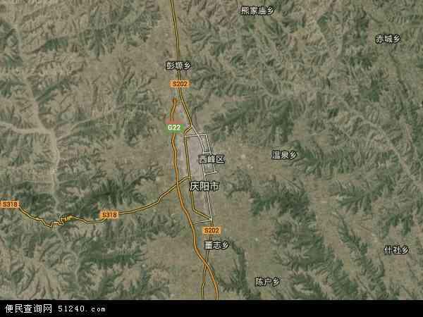 中国甘肃省庆阳市西峰区地图(卫星地图)图片