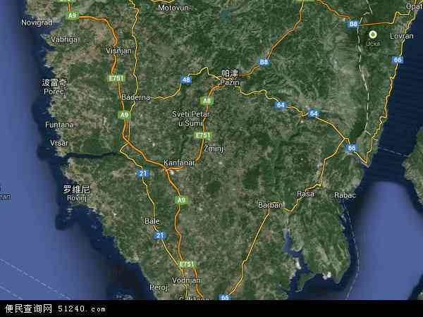 克罗地亚伊斯特拉地图(卫星地图)