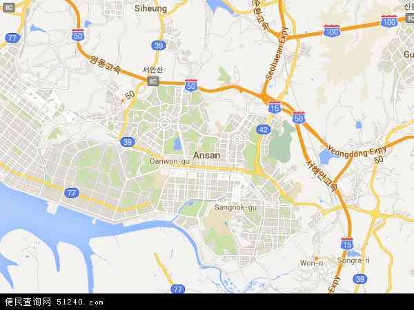 韩国京畿道安山市地图(卫星地图)