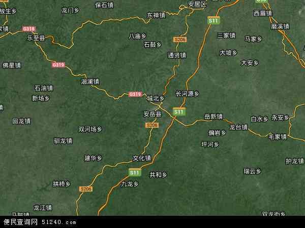 中国四川省资阳市安岳县地图(卫星地图)