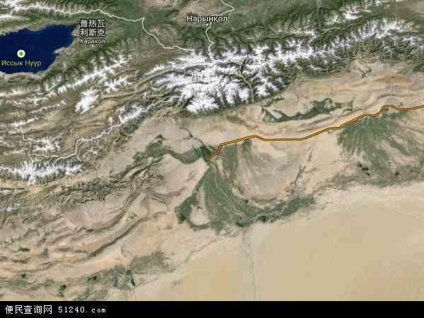 中国新疆维吾尔自治区阿克苏地区地图(卫星地图)