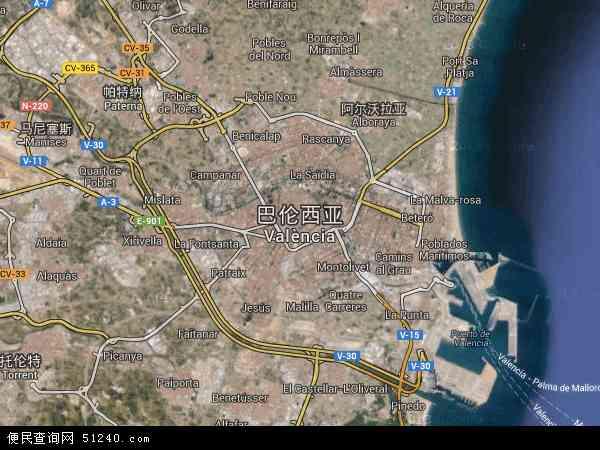 西班牙巴伦西亚地图(卫星地图)