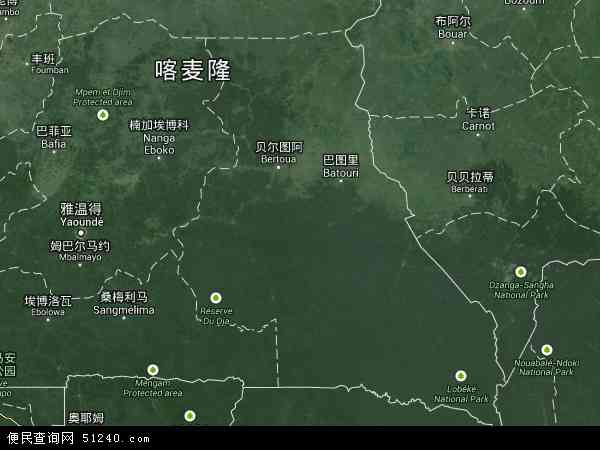 喀麦隆东部地图(卫星地图)