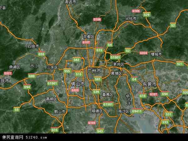 广州市地图 - 广州市卫星地图