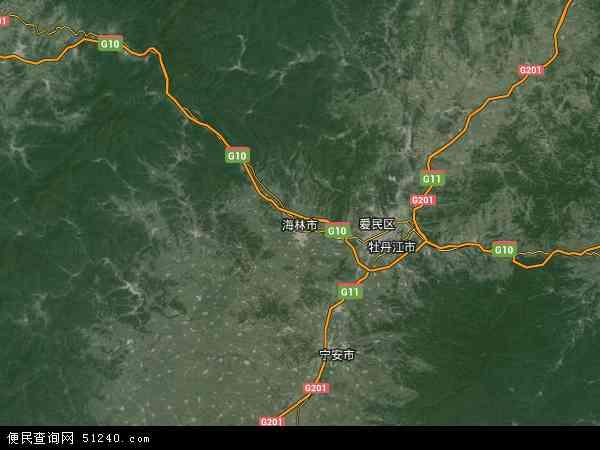 中国黑龙江省牡丹江市海林市地图(卫星地图)