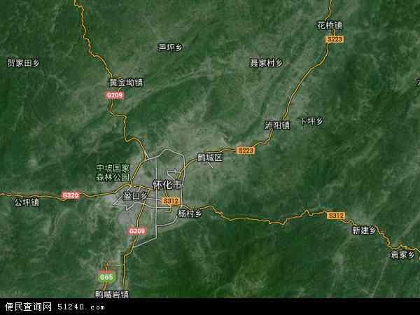 中国湖南省怀化市鹤城区地图(卫星地图)