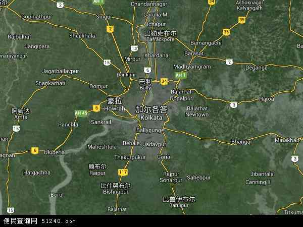 印度加尔各答地图(卫星地图)