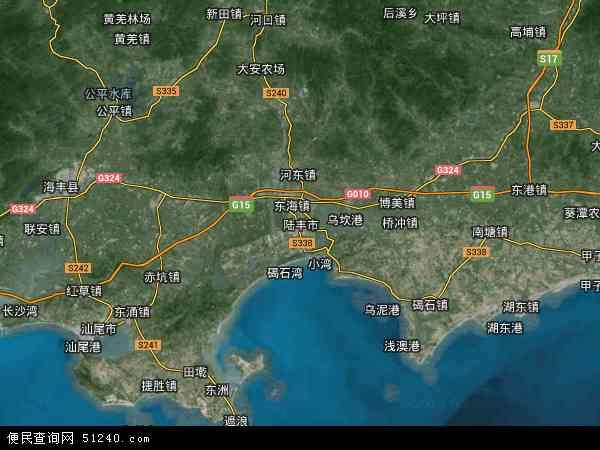 中国广东省汕尾?#26032;?#20016;市地图(卫星地图)