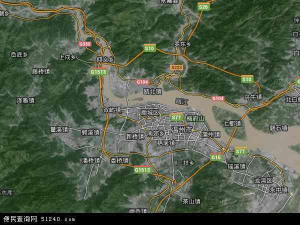 中国浙江省温州市鹿城区地图(卫星地图)