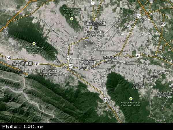 墨西哥蒙特雷地图(卫星地图)