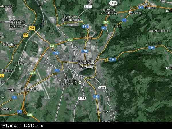 萨尔茨堡高清航拍地图