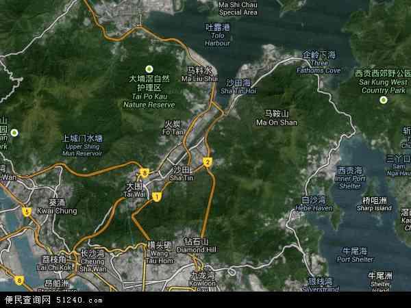 中国香港沙田区地图(卫星地图)
