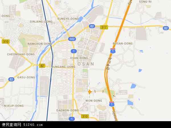 韩国京畿道乌山市地图(卫星地图)