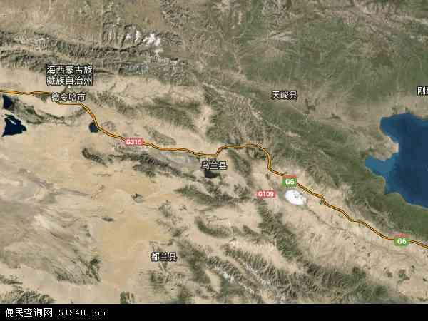 中国青海省海西蒙古族藏族自治州乌兰县地图(卫星地图)