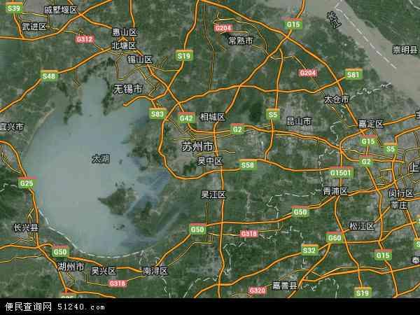 中国江苏省苏州市吴中区地图(卫星地图)