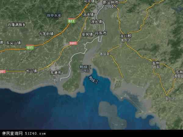 中国辽宁省丹东市振安区鸭绿江地图(卫星地图)