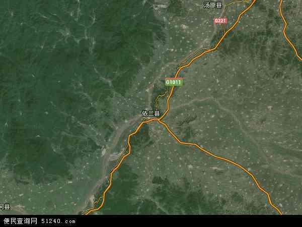中国黑龙江省哈尔滨市依兰县地图(卫星地图)