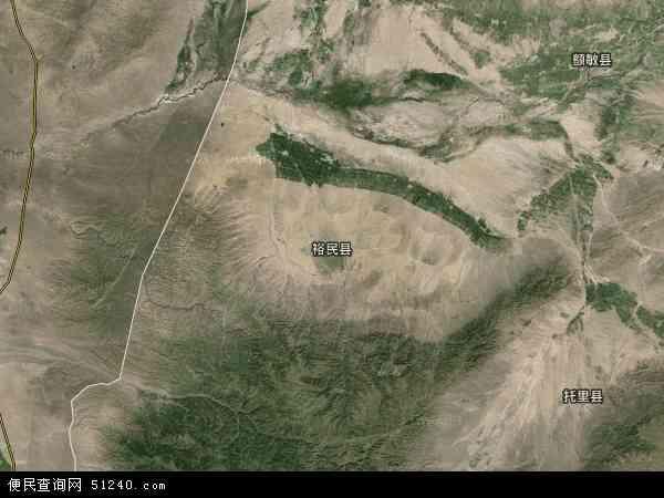 中国新疆维吾尔自治区塔城地区裕民县地图(卫星地图)