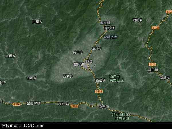 中国安徽省黄山市黟县地图(卫星地图)