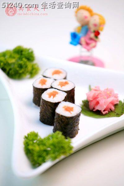 三文鱼蛋清卷配日本酸姜-糕点寿司-菜谱-家小吃能吃多少克图片