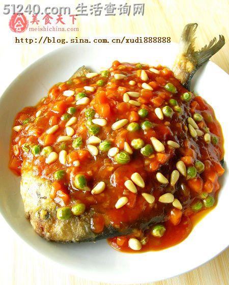 父亲节给菜谱做鲳鱼--茄汁墨鱼-道菜热菜-菜铁板老爸图片
