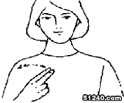 右手手背向外,食,中指并拢直立,在胸前左右晃动两下.(此为国际手语)图片